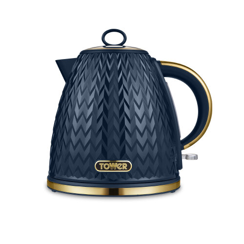 Tower Empire T10060MNB 3000W 1.7L Pyramid Kettle, Blue with Brass Accents