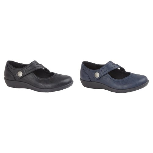 Boulevard Womens/Ladies X Wide EE Fit Touch Fastening Bar Shoe
