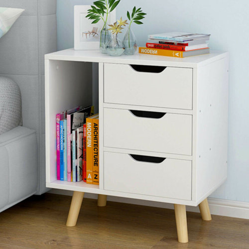 Luxury Three-Drawer Bedside Table Cabinets (White)