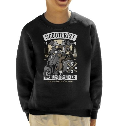 (Large (9-11 yrs)) Scooterist Skull Biker Kid's Sweatshirt