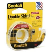 3M MMM137 Double-sided Tape- w-Dispenser- Permanent- .50in.x450in.- CL
