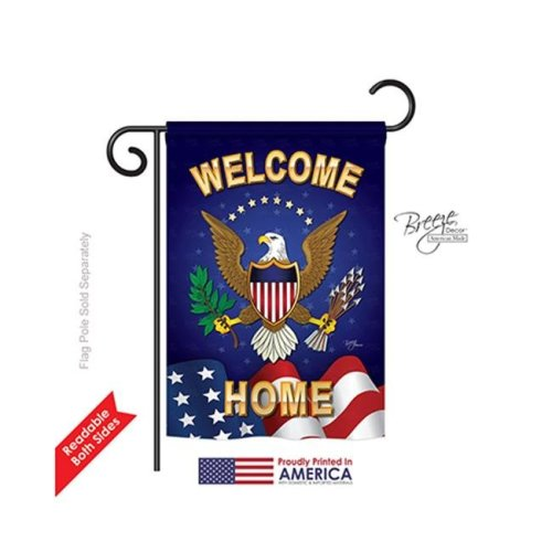 Breeze Decor 58064 Military Welcome Home 2-Sided Impression Garden Flag - 13 x 18.5 in.