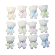 12 Cute Mix Coloured & White Teddies Cupcake Toppers