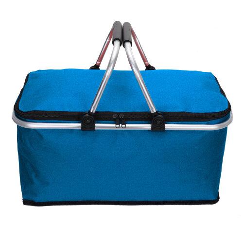 (blue) Folding Lunch Picnic Camping Cooler Hamper Bag