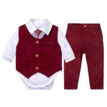 Newborn Baby Clothes Wedding Suit White Romper Red Vest Pants 4 Pieces Kids  Infant Suit