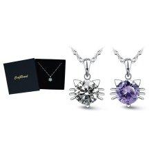 Craftuneed zircon cat kitty pendant 925 silver necklace jewellery gift box