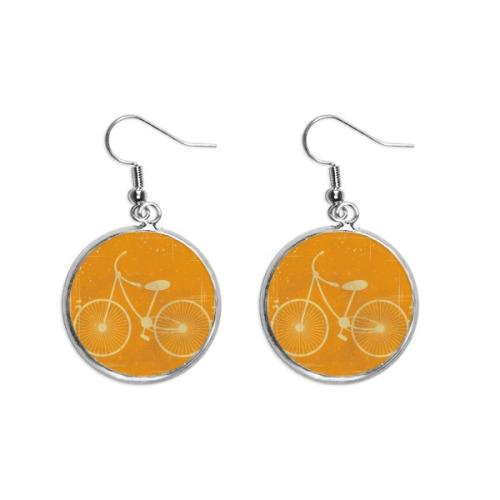 Bicycle Sport Illustration Yellow Pattern Ear Dangle Silver Drop Earring Jewelry Woman