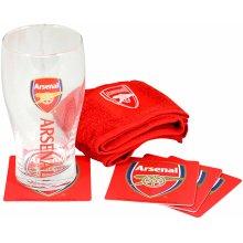 Gunners Official Arsenal FC Pint Glass Mini Bar Set (Pint Glass, Coasters & Bar Towel)