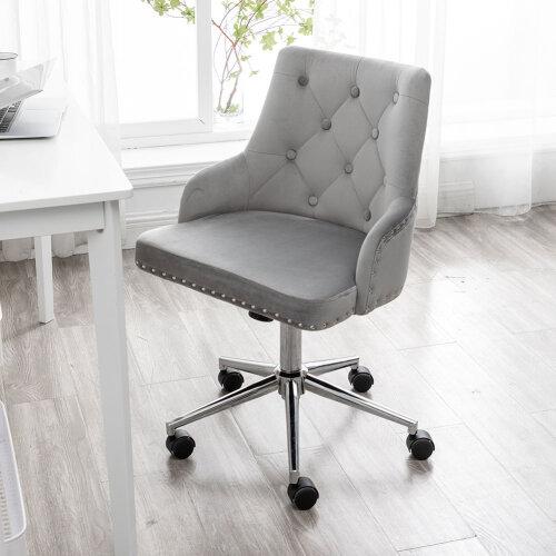 (Light Grey) Gas Lift Velvet Swivel Chair