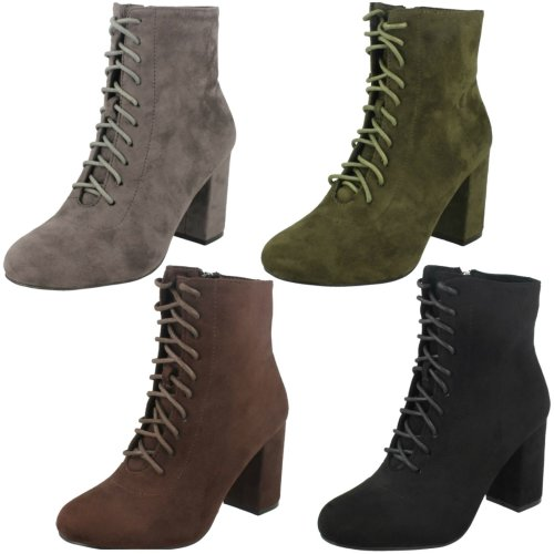 Ladies Spot On Lace Up Ankle Boots