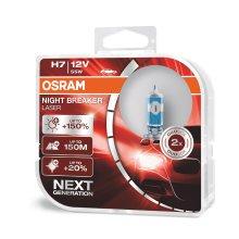 OSRAM NIGHT BREAKER LASER H7, next generation, 150% more brightness, halogen headlamp, 64210NL-HCB, 12V, passenger car
