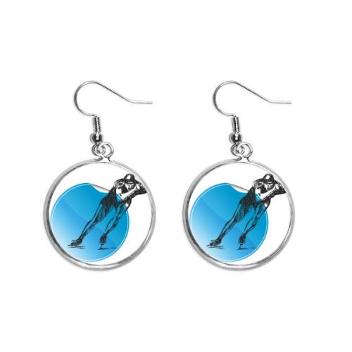 Winter Sport Skating Blue Watercolor Ear Dangle Silver Drop Earring Jewelry Woman