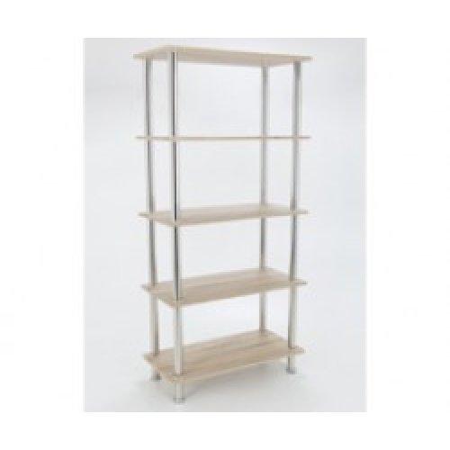 King Whitewashed Oak Effect 5 Tier Modern Organisation Rack, Shelving Shelf Unit