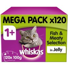 Whiskas 1+ Cat Pouches Fish & Meaty Selection Jelly Cat Food 120x100g MegaPack
