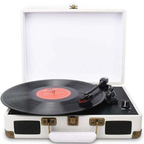 DIGITNOW! Turntable White Suitcase Record Player with Built-in Speakers