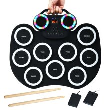 9 Pads Electronic Digital Drum Roll up Drum Set Bluetooth USB 2 Foot Pedals
