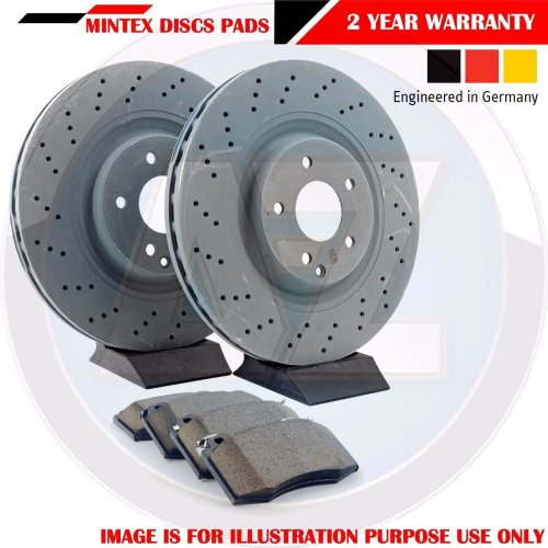 FOR MERCEDES C220 CDi AMG FRONT CROSS DRILLED MINTEX BRAKE DISCS PADS KIT 295mm