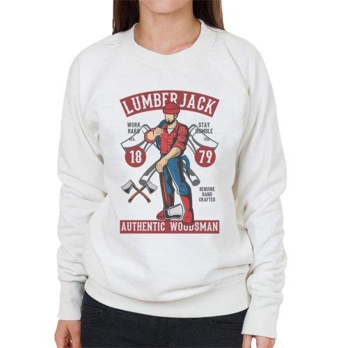 (Medium, White) Lumberjack Authentic Woodsman Women's Sweatshirt