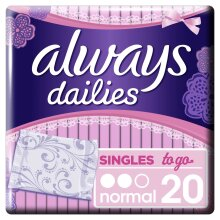 Always Dailies Normal To Go Panty Liners x 20, Flexible And Comfortable, Individually Wrapped, Feel Fresh