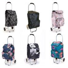 Shopping Trolley - Lightweight Funky Folding Wheeled Shopping Bags - Foldable Strong Waterproof Festival Trolley 2 Wheels - Push Cart Bag