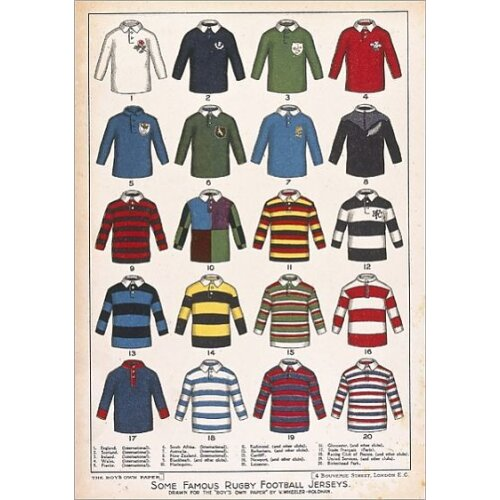 Some Famous Rugby Football Jerseys (Poster Print)
