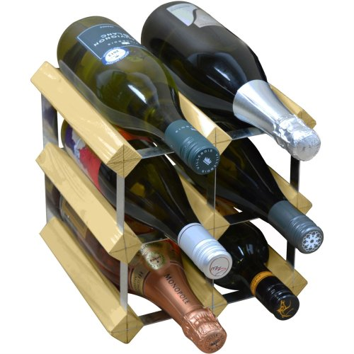 Harbour Housewares 6 Bottle Wine Rack - Fully Assembled - Light Wood