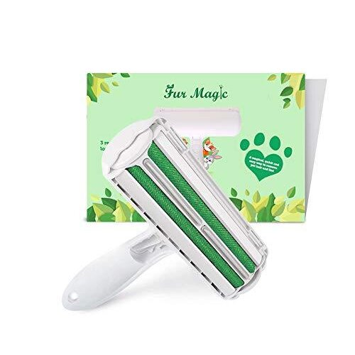 Fur Magic Reusable Pet Hair Remover Roller for Dog, Cat and Other Pet Hair with Improved Handle, Easy to Clean Lint Remover for Furniture, Sofa, Car