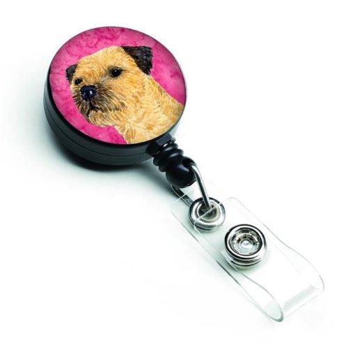 Pink Border Terrier Retractable Badge Reel