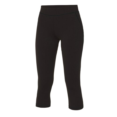 (Jet Black, M) AWDis Cool Girlie Womens 3/4 Length Running Sports Gym Capri Pants Leggings