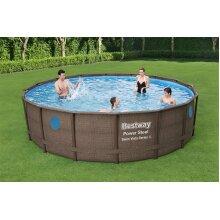 """BestWay Steel Frame Swimming Pool Set Round Rattan Above Ground Vista 16' x 48"""""""