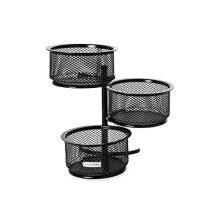 Rolodex Mesh Collection 3-Tier Swivel Tower Sorter Black (62533)