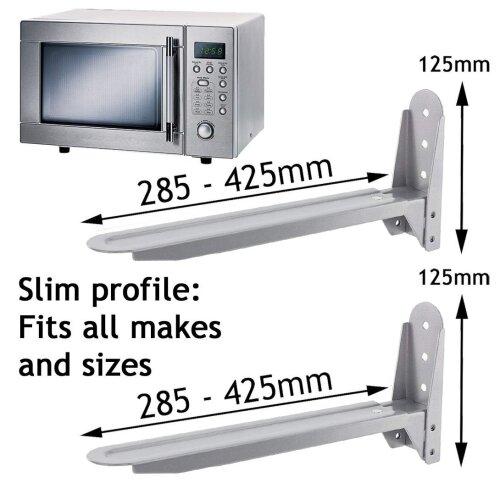 Universal Silver Microwave Wall Mount Brackets x 2
