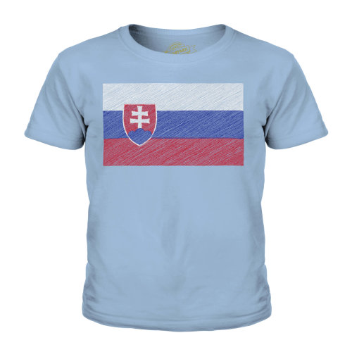 (Sky Blue, 7-8 Years) Candymix - Slovakia Scribble Flag - Unisex Kid's T-Shirt