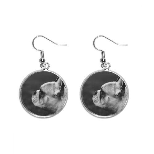Dog Pet Animal Gray Picture Ear Dangle Silver Drop Earring Jewelry Woman