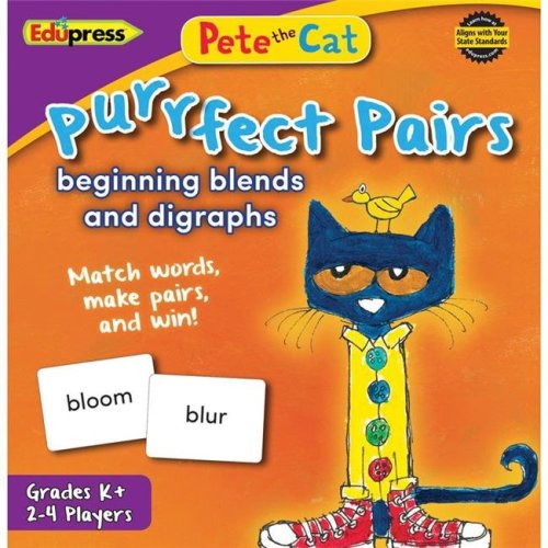 Teacher Created Resources EP-3533BN 2 Each Pete the Cat Purrfect Pairs Game Beginning Blends & Digraphs