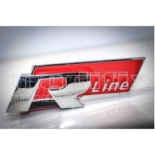 MODIFIX   VW R Line Red Chrome Front Grille Badge Emblem Logo Genuine Modified Golf Scirocco Passat