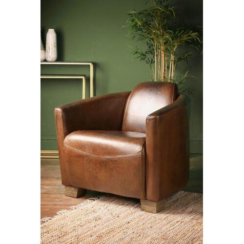 Brazilian Leather Cigar Chair Vintage Club Seat Armchair with Oak Feet