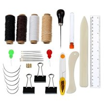 28 Pieces Bookbinding Tools Set Large-eye Curved Needles Thimble Ring Needle Threader Waxed Thread Clipper Bone Folder Paper Creaser Binder Clips...