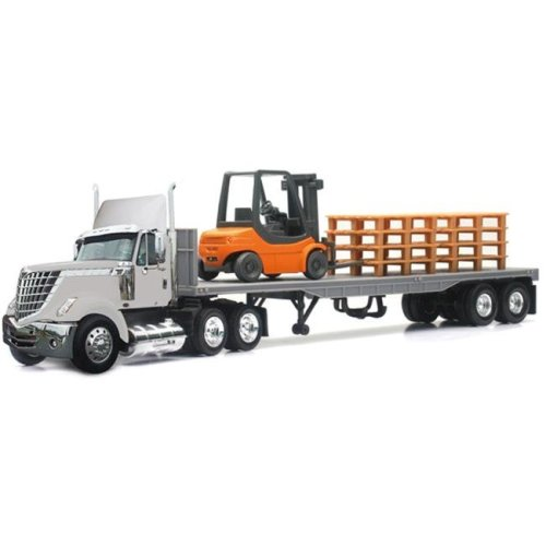 New-Ray 16643 International Lonestar With Flat Bed Hauling A Forklift And Pallets