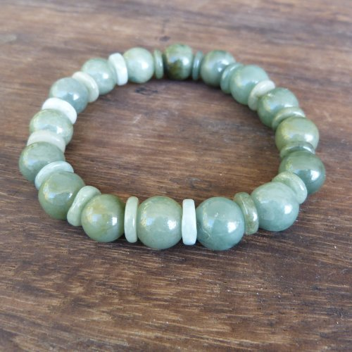 Natural Burmese Jade Bead Bracelet