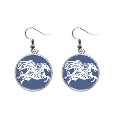 Year Of Horse Animal China Zodiac Ear Dangle Silver Drop Earring Jewelry Woman