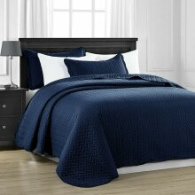 Luxury 3 PCs Bedspread Embossed Quilted Bed Throw