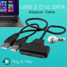 USB 2.0 To SATA 2.5 External HDD SSD Hard Disk Drive Converter Adapter