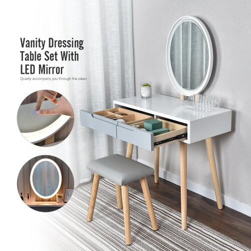 ELECWISH Dressing Table with Oval Mirror Makeup Vanity Table Set