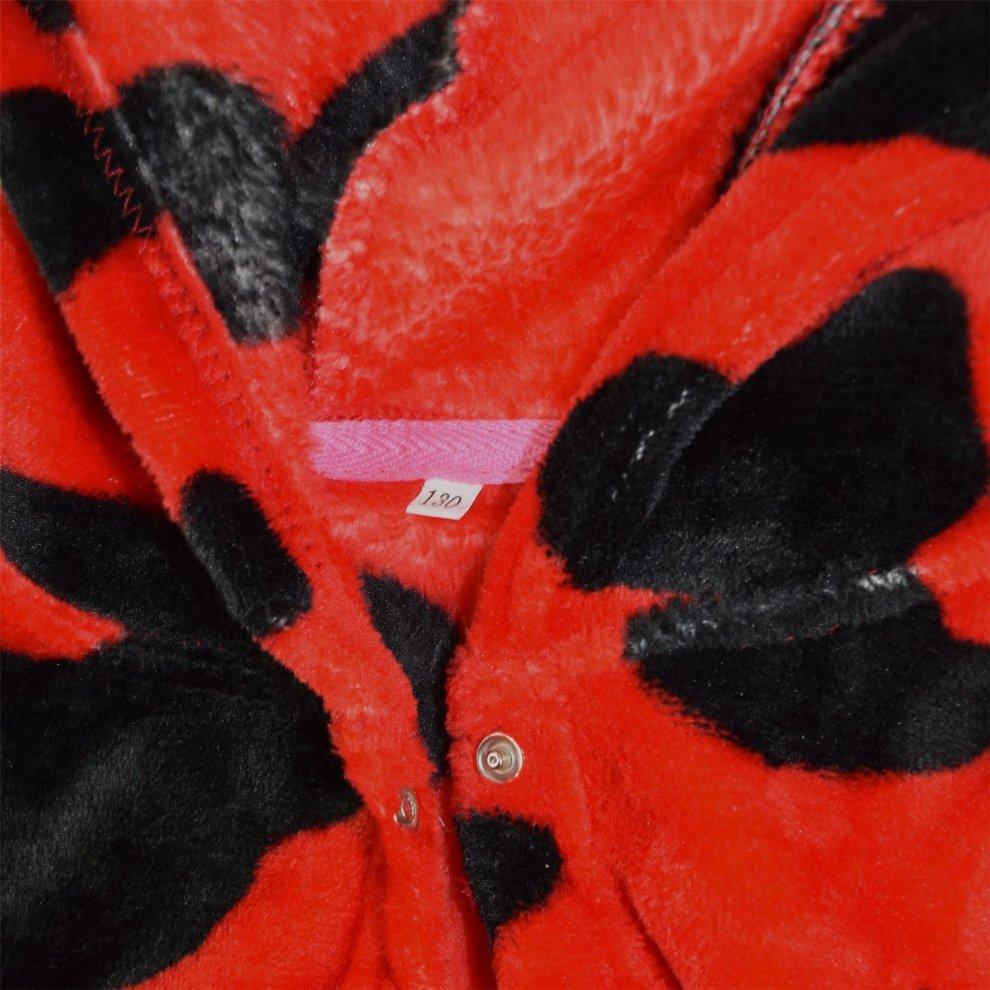 Kids Girls Bathrobe 3D Animal Red Cow Fleece Dressing Gown Nightwear Lounge Wear
