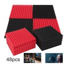 48Pcs Acoustic Panels Tiles Studio Sound Proofing Insulation Foam Pads