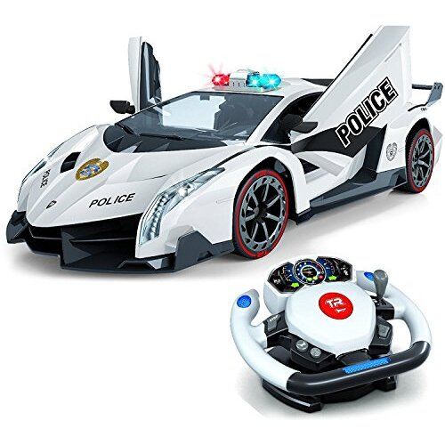 Top Race Remote Control RC Police Car TR-911, 4D Motion Gravity and Steering Wheel Control, 1: 12 Scale, 2.4GHz, with Lights, Sirens, Powered Doors, T