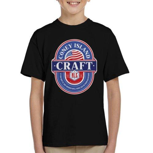 (Large (9-11 yrs), Black) Coney Island Craft Ale Kid's T-Shirt