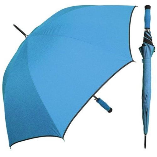 RainStoppers W071BLUE 46 in. Auto Open Lake Blue Umbrella Black Piping and Matching Foam Handle, 12 Piece