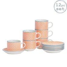 Patterned Stacking Cups and Saucer Tea Coffee Mug Set - Orange / Blue Design x6
